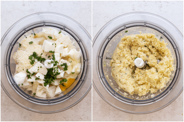 mozzarella mixture before and after mixed
