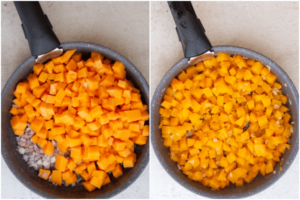 cooking the pumpkin in a black pan before and after cooked