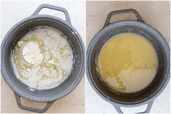making the white sauce, melted butter and adding the flour to the pot