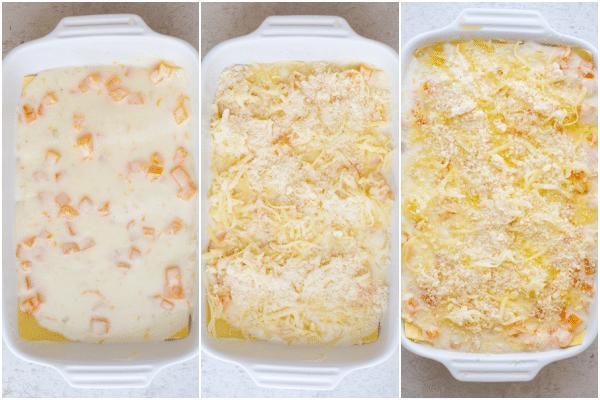 making the lasagna layers
