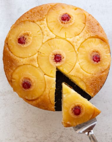 pineapple upside-down cake with a slice cut