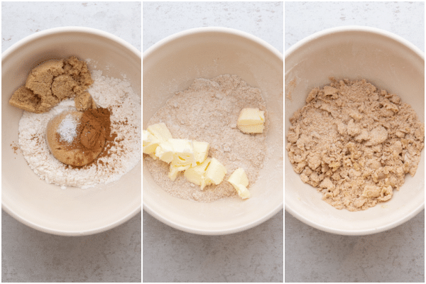 making the crumb topping in a white bowl, adding butter and makes crumbs