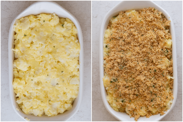in the baking dish before and after baking