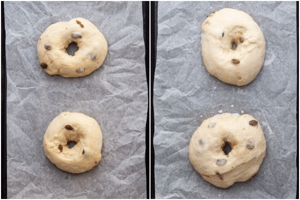 Donuts made with white must before and after rising