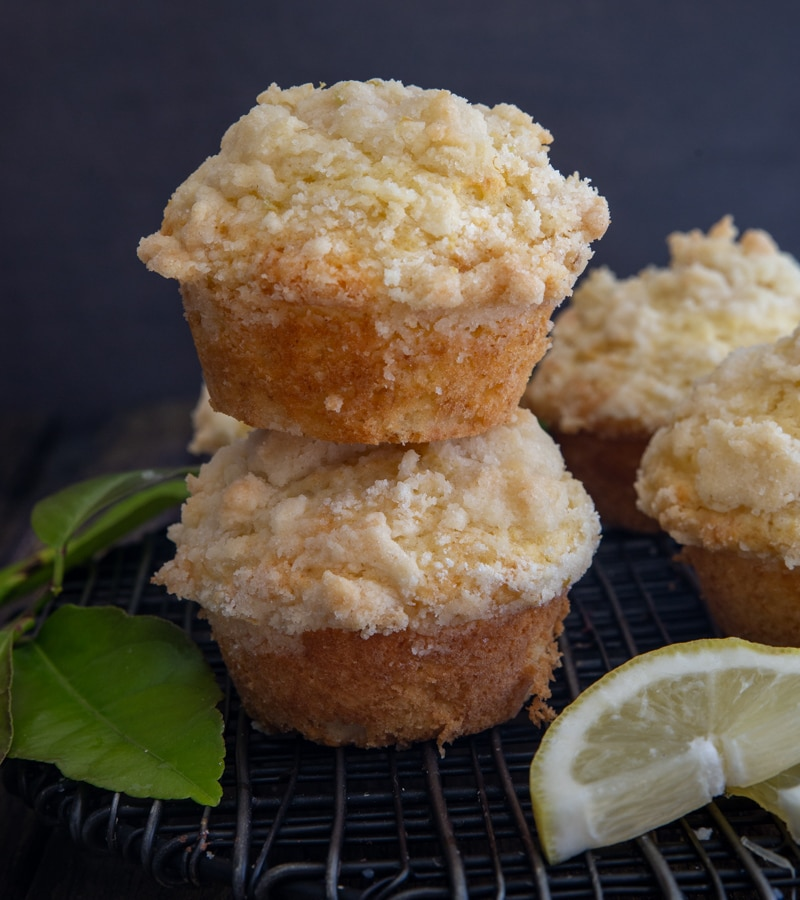 2 muffins stacked with a slice of lemon