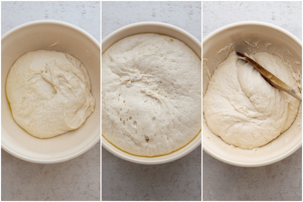 the dough before and after rising and deflated