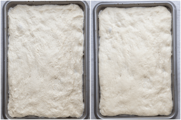 the dough on a cookie sheet before and after rising