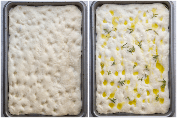 ready for baking with oil and rosemary
