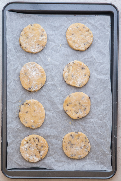 cookies ready for baking on a cookie sheet