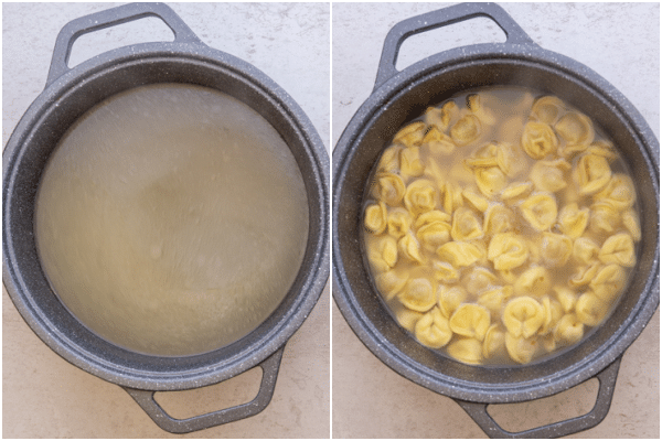 broth poured through a sieve in the pot and with cooked tortellini