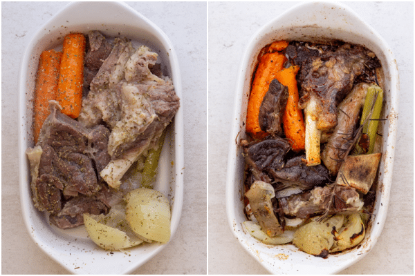 vegetables & meat before and after roasted