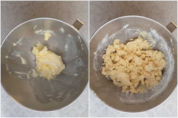 creaming the butter and mixing the dough until almost combined in a silver mixing bowl