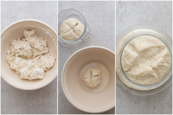 forming into a dough, before and after rising