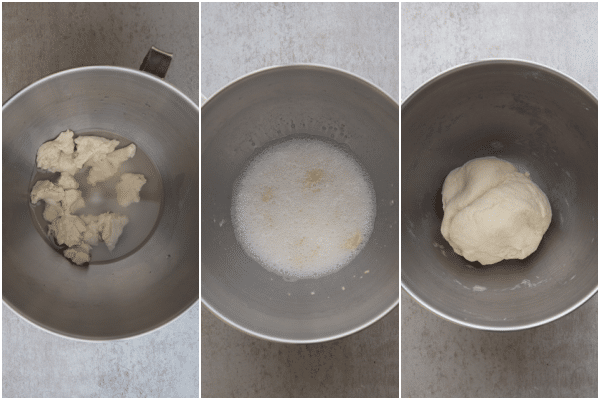 mixing the starter and water in a standup mixer and kneading to a ball