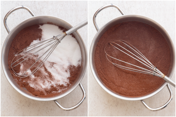 whisking the dry ingredients in a pot