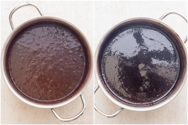 before and after the syrup is boiled