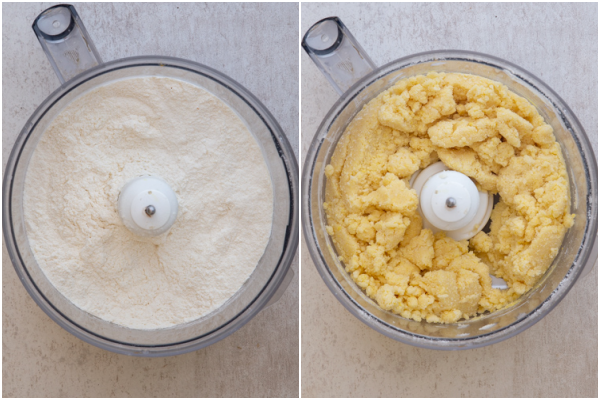 making the dough in a food processor, whisked dry ingredients and the dough almost combined