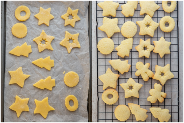 cookies on a cookie sheet before & after baking