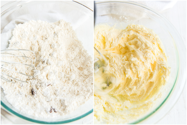 mixing the dry ingredients and creaming the butter