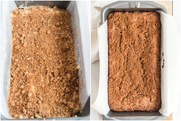 the loaf in the pan before and after baking