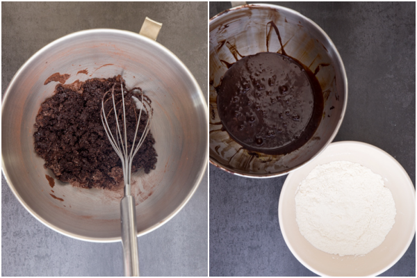 whisking the dried ingredients and the wet ingredients