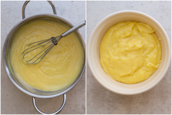 the thickened cream and cooling in a white bowl