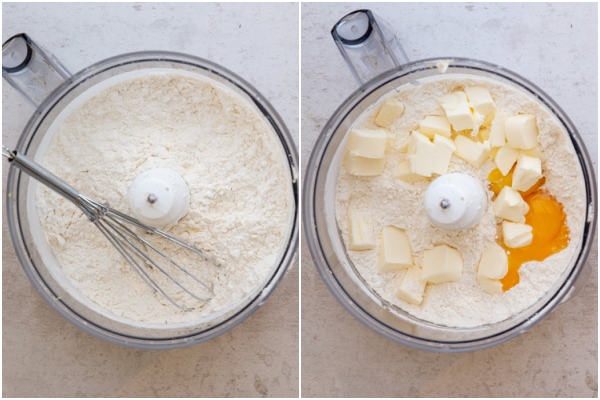 whisked dry ingredients in a food processor and the egg yolks & butter added
