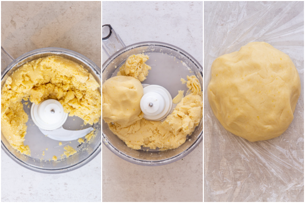 forming the dough in a food processor and a dough ball on plastic wrap