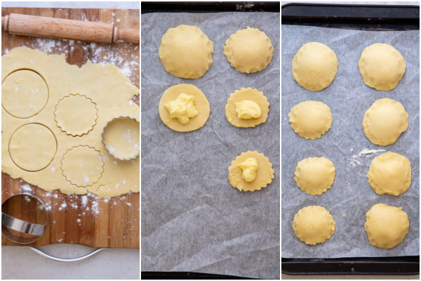 rolling out the dough. cut into circles with pastry cream on top and covered with a dough circle