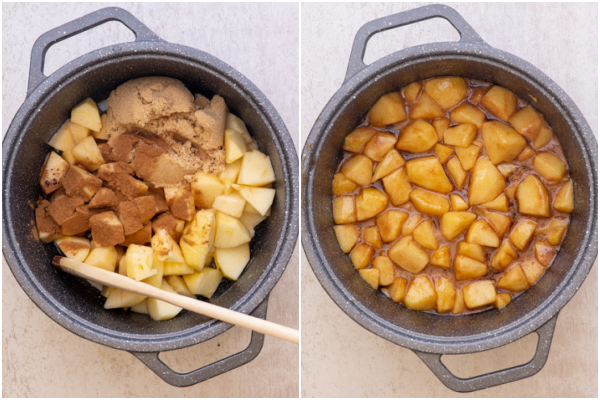 apple pie filling before and after cooking