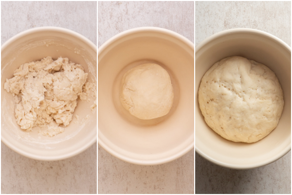 making the biga before and after rising in a white bowl