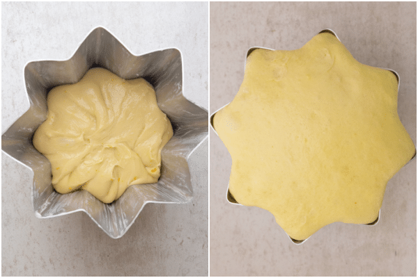 placing the dough in a pandoro pan before and after rising