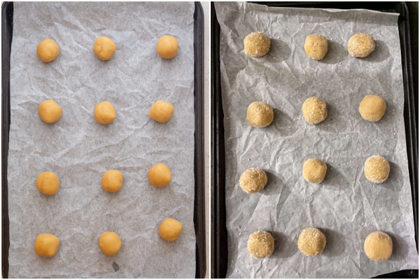 dough balls for peanut butter blossoms rolled in sugar ready for baking