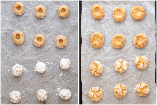 dough balls for thumbprint & crinkle cookies before and after baking