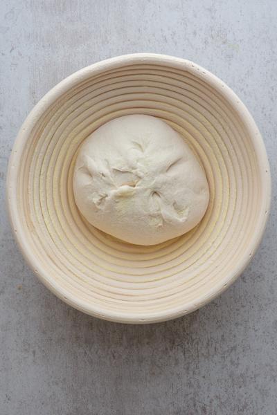 dough in basket before rising