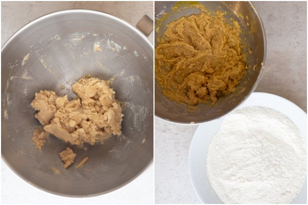 sugar & butter beaten and whisked dry ingredients in a white bowl