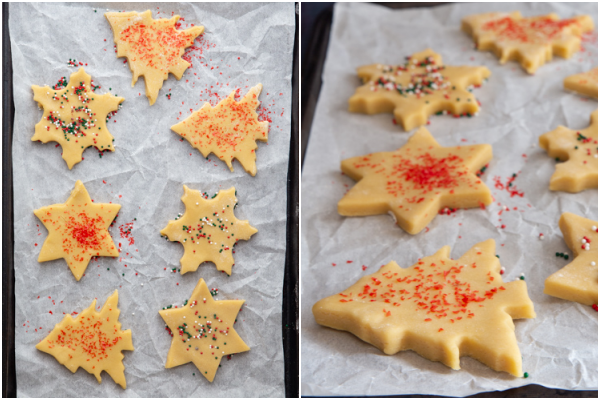 rolled dough cut out on cookie sheets and with sprinkles