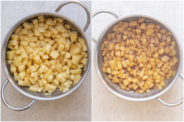 the caramelized apples before and after cooked