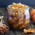 caramelized apples in a glass jar