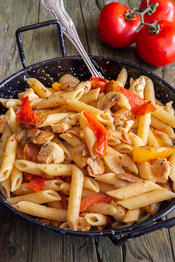 skillet turkey pasta in a black bowl