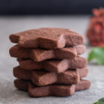 5 chocolate shortbread cookie stacked