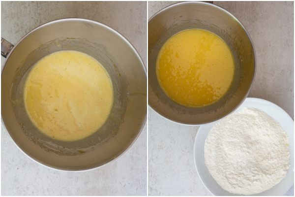 beat the eggs & sugar in a bowl whisked dry ingredients in white bowl