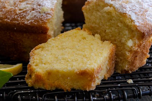 a slice of lemon bundt cake