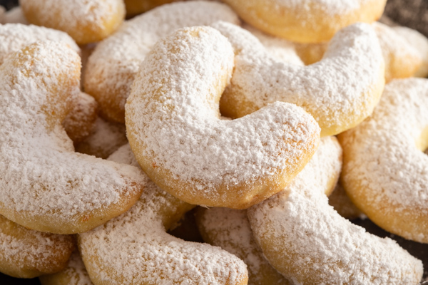 up close orange crescent cookies