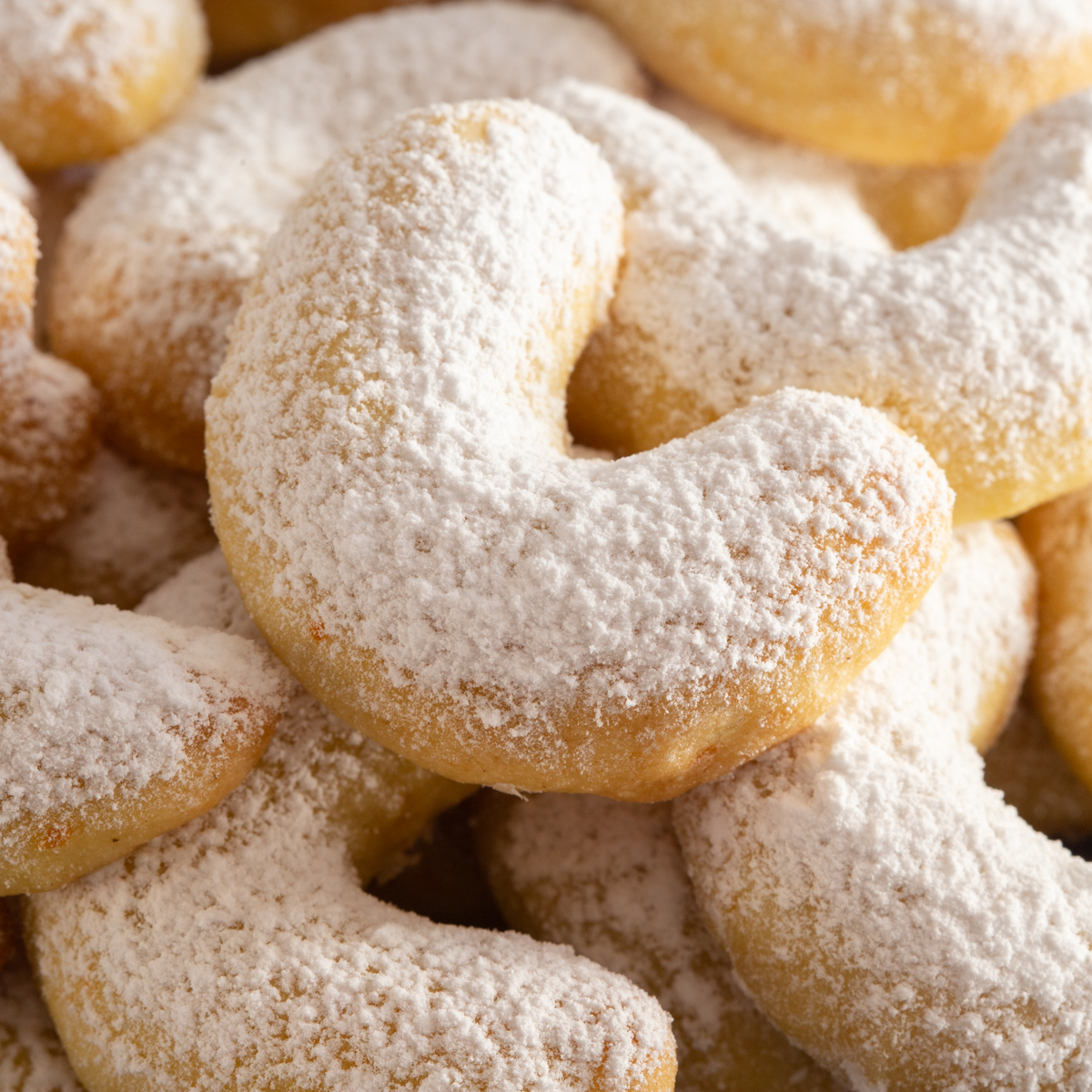 crescent cookies up close