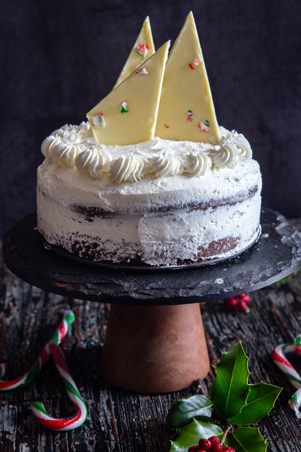 peppermint cake on a black cake stand