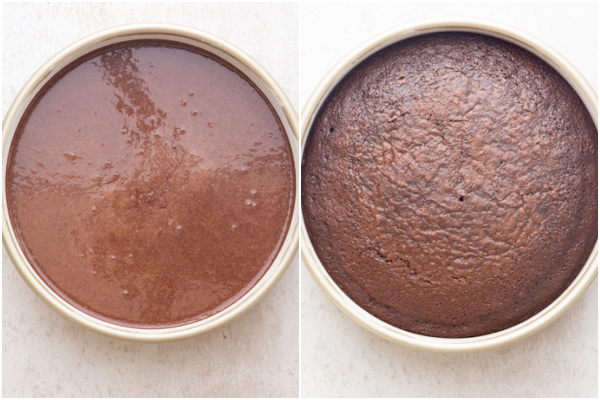 the batter in the cake pan before and after baking