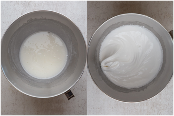 making the sugar and egg whites and mixing in a mixing bowl