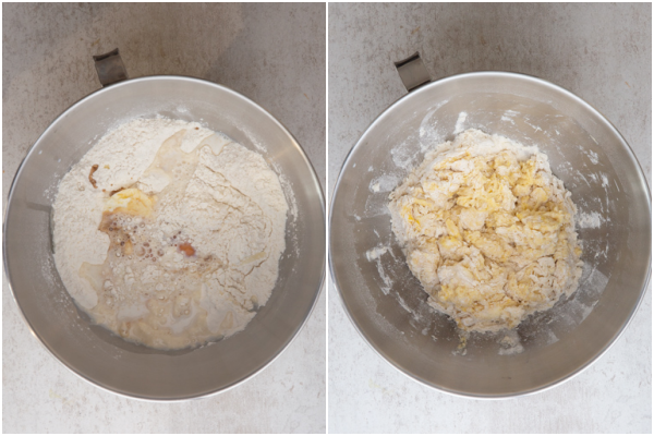 mixing the dough in a stand up mixer