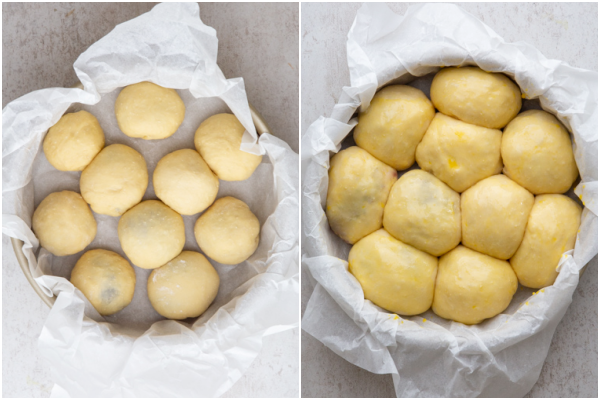 the dough before and after rising